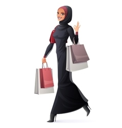 Muslim woman walking with shopping bags and vector