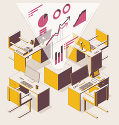 openspace isometric concept outline scene vector image