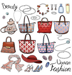 Pack with woman accessories jewel bags objects vector