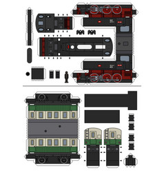 Paper model a vintage steam train vector