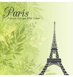 Paris Eifel Tower On Green Leaves Spring vector image