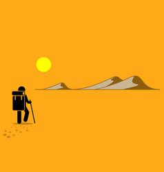 Person with backpack and stick walking in the vector
