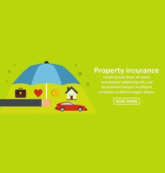 Property insurance banner horizontal concept vector