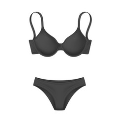 Realistic black bra panties template mockup vector