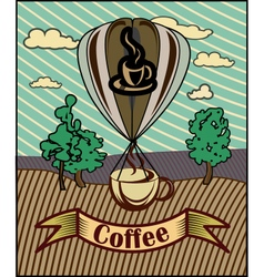 Retro banner with a cup of coffee vector