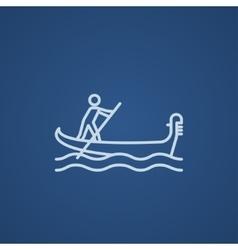 Sailor rowing boat line icon vector