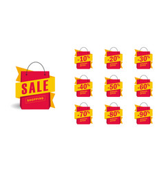set design elements in shape shopping bags vector image