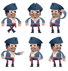 set of pirate character in different poses vector image
