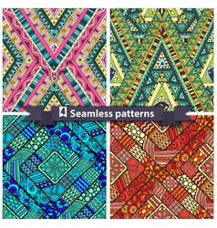 Set of tribal doddle rhombus seamless pattern vector