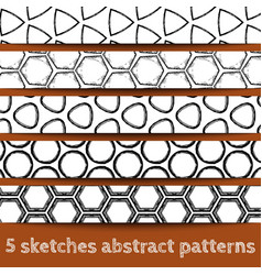set sketches geometric seamless patterns vector image