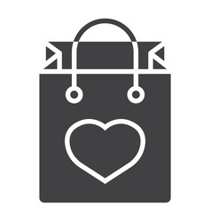 shopping bag with heart glyph icon valentines day vector image