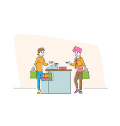 Shopping sale consumerism female customer vector