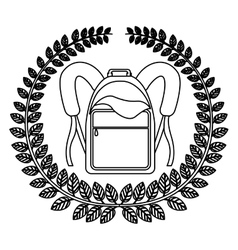 Silhouette crown of leaves with school briefcase vector