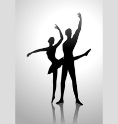 Silhouette of a couple dancing ballet vector