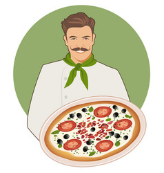 Smiling mustachioed cook with a bandana around vector