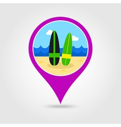 Surfboard pin map icon Summer Vacation vector