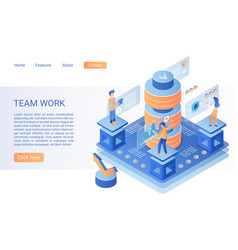 team working landing page isometric vector image