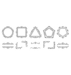Text frame monogram devider corner art set vector