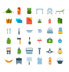 Tourist equipment for hiking icons set vector