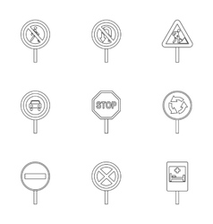 Traffic sign icons set outline style vector