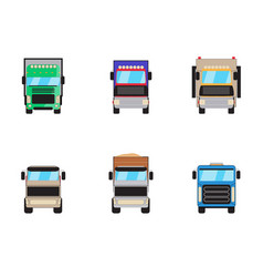 trailer trucks front view icon set isolated vector image