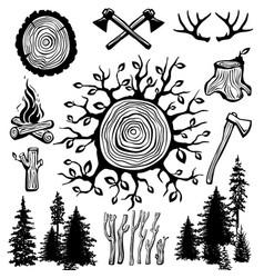 trendy hipster lumberjack set vector image