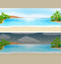 two scenes of ocean on sunny and rainy days vector image
