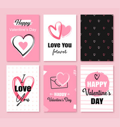 valentines day greeting cards with hearts and vector image
