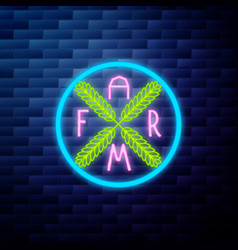 vintage farm emblem glowing neon vector image