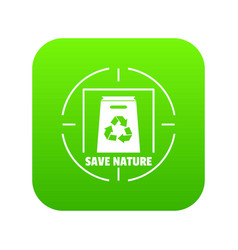 waste recycling icon green vector image