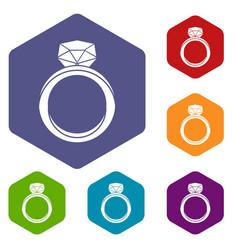 Wedding ring icons set hexagon vector