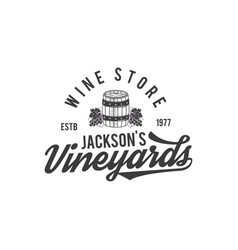 Wine shop logo label organic winesvineyard vector