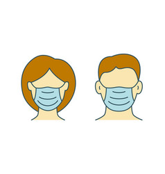 woman and man in protective masks icon vector image
