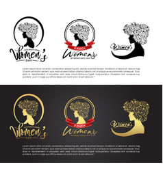 Women day logo design with woman silhouette black vector