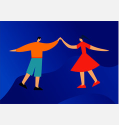 young happy dancing people or male and female danc vector image