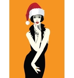 Beautiful woman face in the hat of Santa Claus vector image