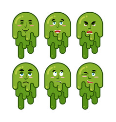 Booger emotions set cheerful and sad snot evil vector