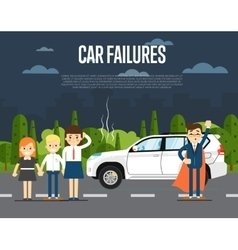 Car failures concept with people vector image