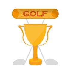 golf golden trophy clubs emblem vector image