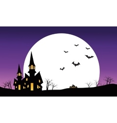 Halloween castle at night scenery silhouette vector image