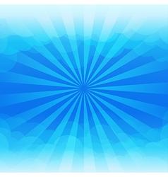 Sunburst and blue sky cloud background vector image vector image