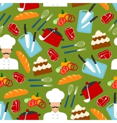 Chef cooking dinner seamless pattern vector image