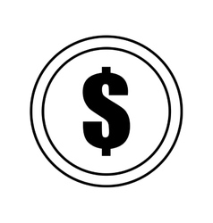 coin dollar money currency icon outline vector image