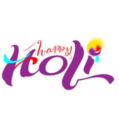 happy holi indian festival text for greeting card vector image vector image