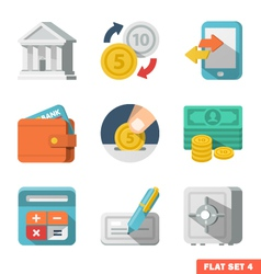 Money Flat icon set vector image