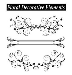 Set Floral decorative element with swirls vector image vector image