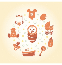 Baby icons round card vector image vector image