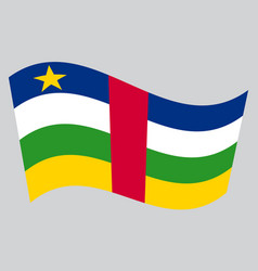 Central african republic flag wavy gray background vector