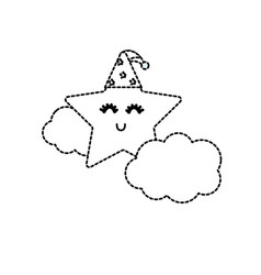 dotted shape cute star with cloud in the sky vector image vector image