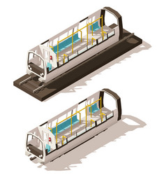 isometric subway train cross-section vector image vector image